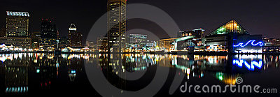 Baltimore Harbor night panorama