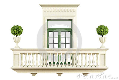balustrade classique de balcon avec la fen tre illustration stock image 45723259. Black Bedroom Furniture Sets. Home Design Ideas