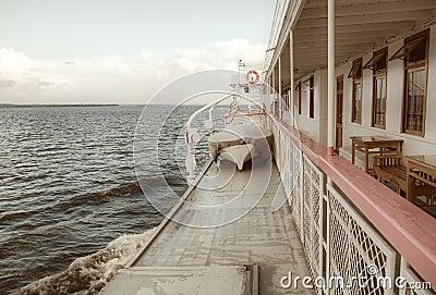 Balustrade of a cruise ship .
