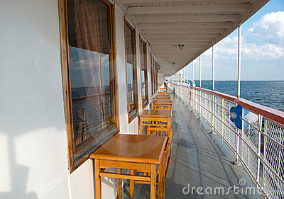 Balustrade of a cruise ship .Old  Steamship