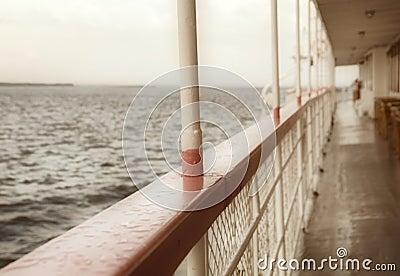 Balustrade of a cruise ship .Old  Steamship