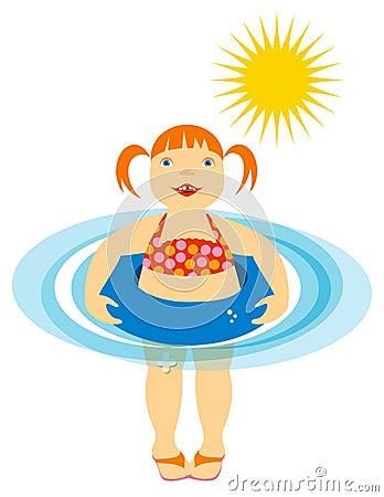 Bambina che galleggia alla spiaggia o al raggruppamento