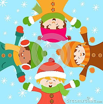 Bambini che celebrano neve