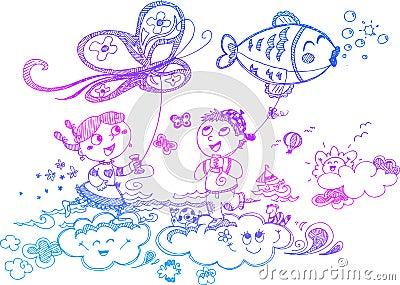 Bambini che giocano con gli aquiloni