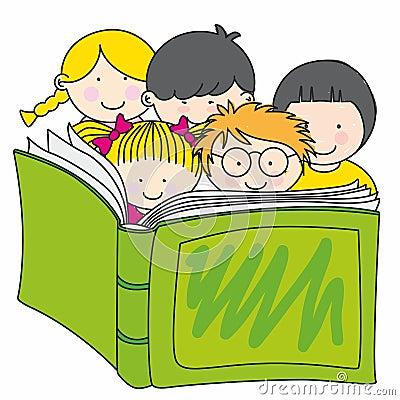 Più immagini stock simili di ` bambini che leggono un libro `