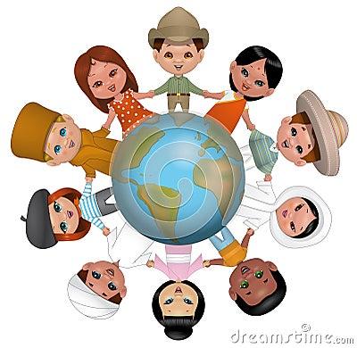 Bambini che si tengono per mano intorno al mondo for Immagini con i brillantini