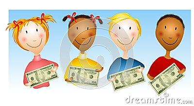 Bambini che tengono le fatture di soldi