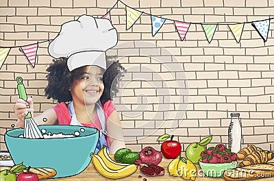 Bambini dei bambini che cucinano concetto di divertimento - Bambine che cucinano ...