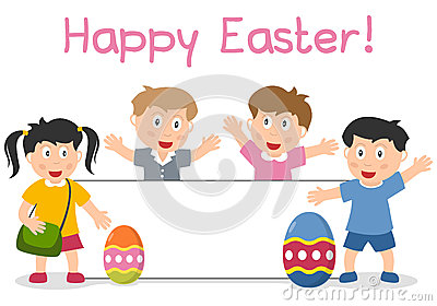 Bambini ed insegna di Pasqua