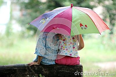 1940s Rotankovsky-Rain Rain Go Away-Children Under Umbrella (Art