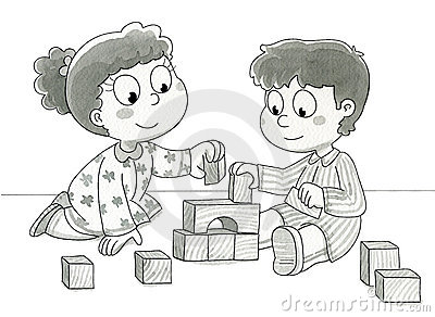 Bambini svegli che giocano - bw