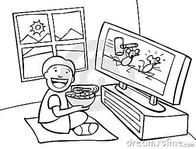 bambino che guarda tv