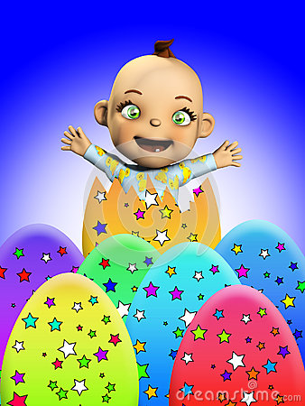 Bambino con le uova di Pasqua