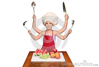 Bambino del cuoco unico con molte braccia
