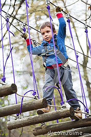 Bambino nel parco di avventura
