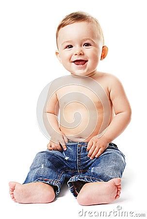 Bambino-ragazzo nudo in jeans