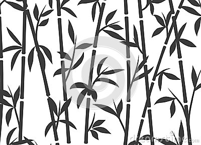 Bamboo background japanese asian plant wallpaper grass. Bamboo tree vector pattern black and white Vector Illustration