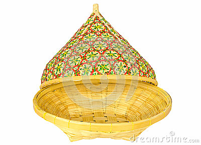 Bamboo basket with open lid