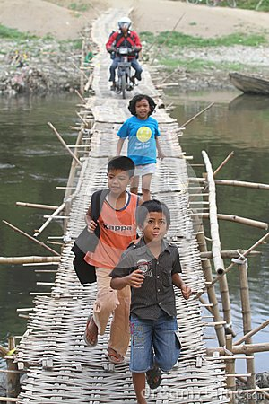 Bamboo bridge Editorial Image