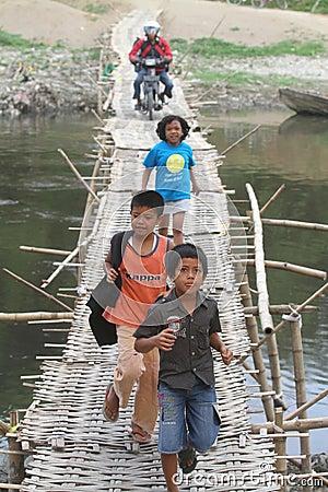Bamboo bridge Editorial Image