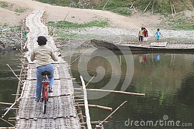Bamboo bridge Editorial Stock Image