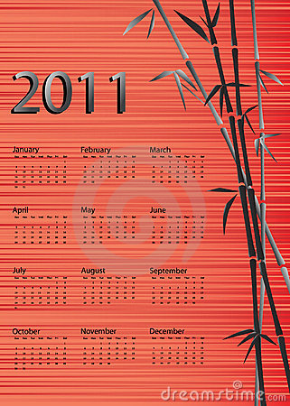 Bamboo calendar red silk background