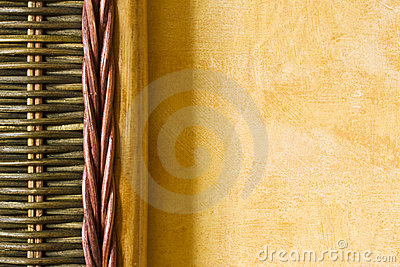 Bamboo detail and yellow wall