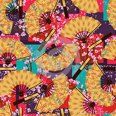 Free Bamboo Fan Cherry Origami Seamless Pattern Royalty Free Stock Images - 69986159