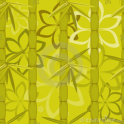 Bamboo and flowers pattern