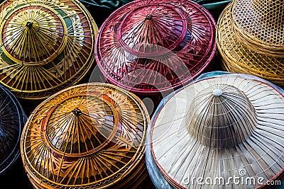 Bamboo hats craft.