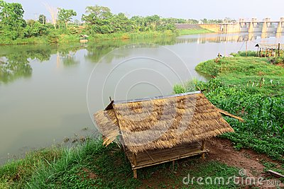 Bamboo hut and farmer s garden at riverside view