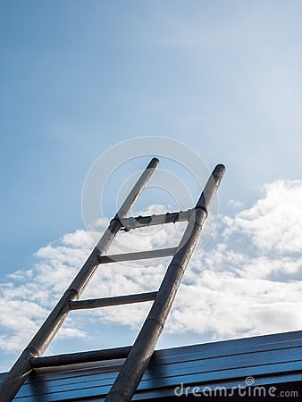 Free Bamboo Ladder Under The Clear Blue Sky. Royalty Free Stock Image - 106212396