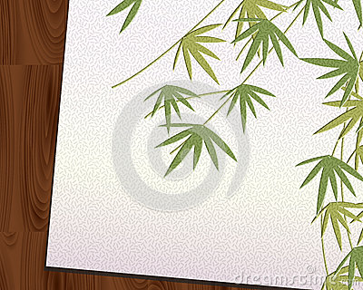 Bamboo leaf imprint Japanese paper put on Wood