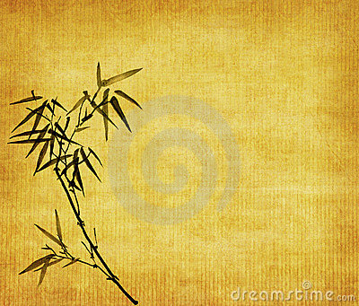 Bamboo leaves on old grunge background