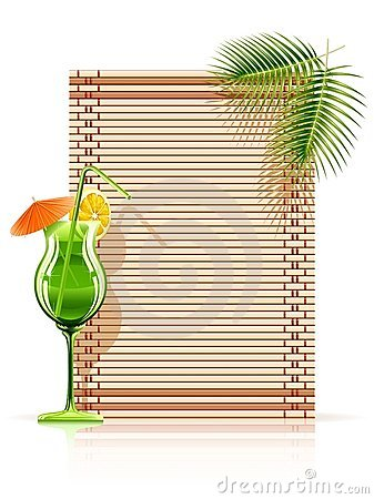 Bamboo mat palm cocktail Vector Illustration