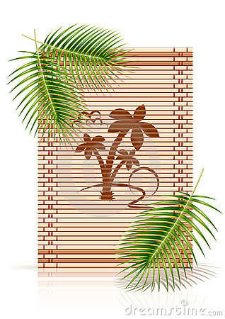 Bamboo mat tropic palm