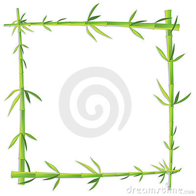Bamboo photo frame on blank