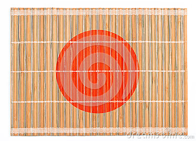 Bamboo placemat colored as Japanese flag