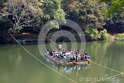 Bamboo Raft ferrying tourists Editorial Photo