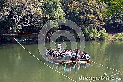 Bamboo Raft ferrying tourists Editorial Photo