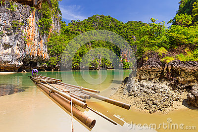 Bamboo raft in the Phang Nga bay