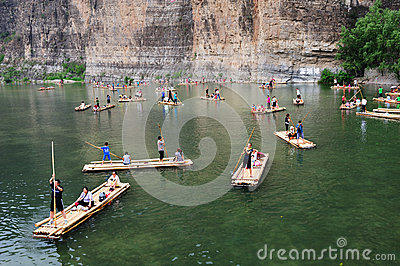 Bamboo raft at the river Editorial Stock Image