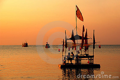 Bamboo raft at the sunset