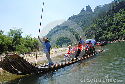 Bamboo raft on Wuyi river Editorial Photo