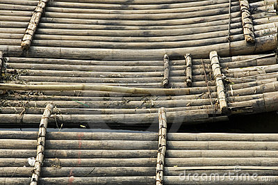Bamboo rafts waiting for tourists