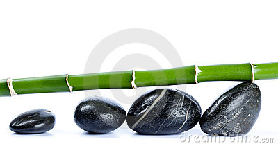 Bamboo and smooth pebbles