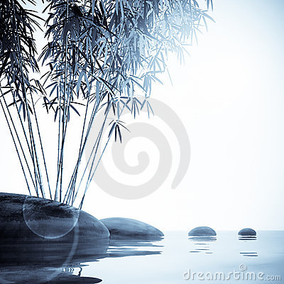 Bamboo  and stones