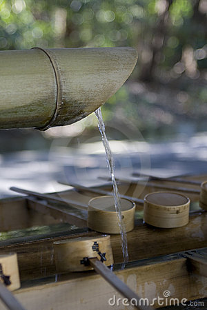 Bamboo water sink at Shinto shrine