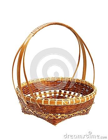 Bamboo weave basket isolated on white background