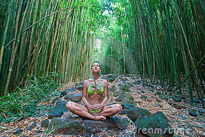 Bamboo woman meditate